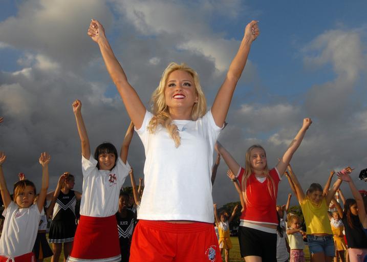 Cheerleading team in action