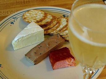 Brie cheese salmon smoked pate crackers champagne.jpg