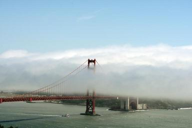 Golden Gate Bridge with fog rolling over it. San Francisco, California LCCN2013630157.tif.tiff
